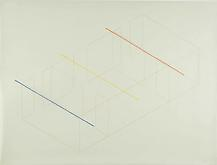 Fred Sandback Untitled, c. 1977 Pencil and red, ye...