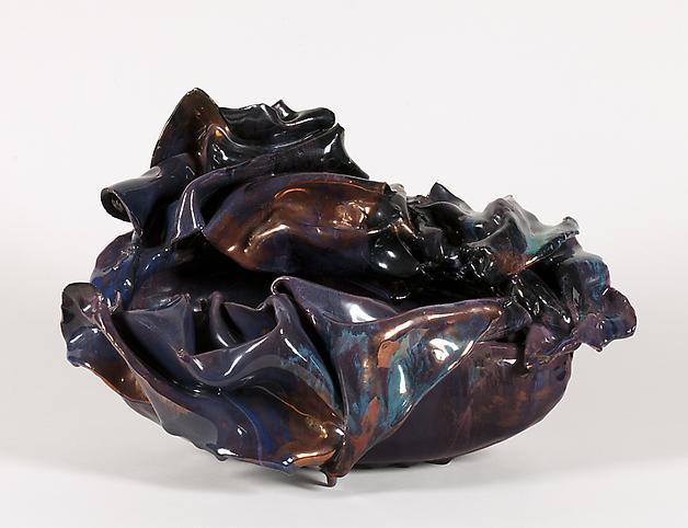 Coppa con orlo mosso c. 1955 Glazed polychrome cer...