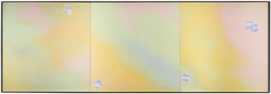 Joe Goode Cloud-Photograph Triptych, 1969-1970 Oil...