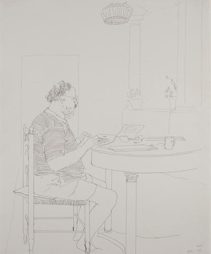 David Hockney, Henry Typing at Table, 1973, Ink on...