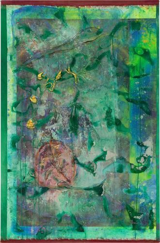 Frank Bowling Flying Footy 2018 Acrylic and mixed...