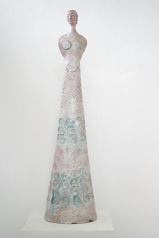 Kore c. 1954 Glazed polychrome ceramic 39 3/8 x 7...