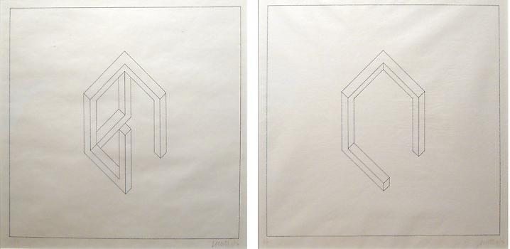 Sol LeWitt (1928-2007) Pair of Incomplete Open Cub...