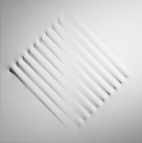 Bianco 1972 Acrylic on shaped canvas 47 1/4 x 47 1...