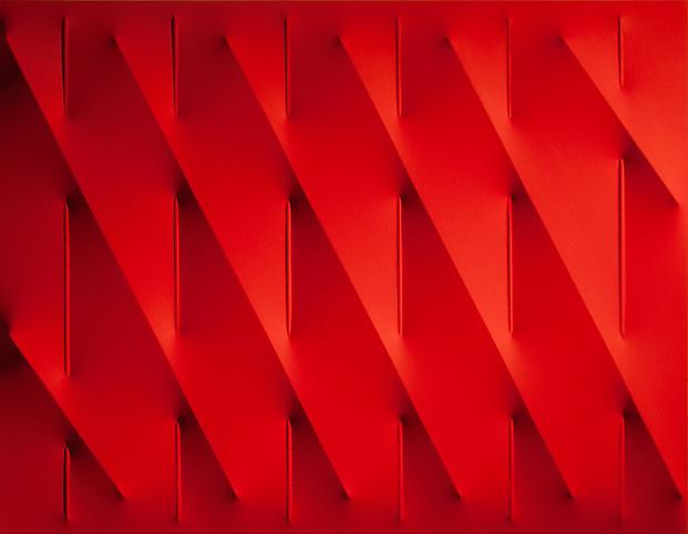 Rosso 2009 Vinyl tempera on shaped canvas 27 1/2 x...