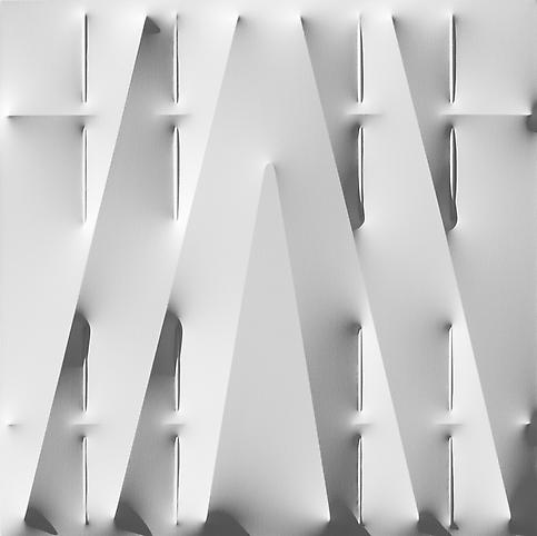 Bianco 2011 Water based enamel on shaped canvas 39...