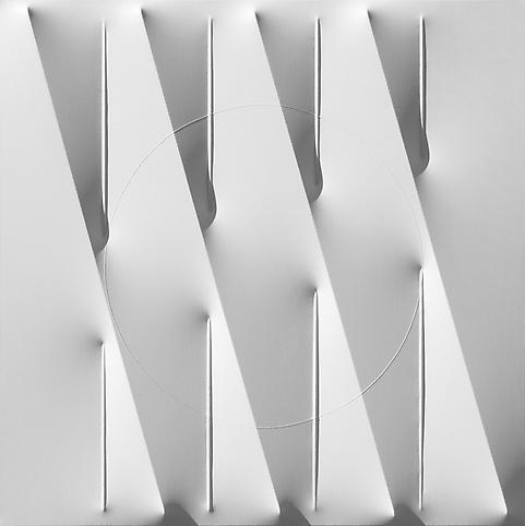 Bianco 2012 Water based enamel on shaped canvas 39...