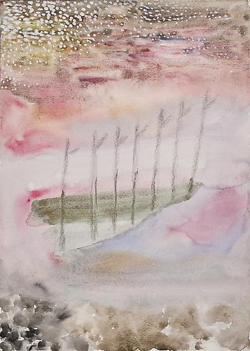 Untitled 1973 Tempera and pencil conté on c...