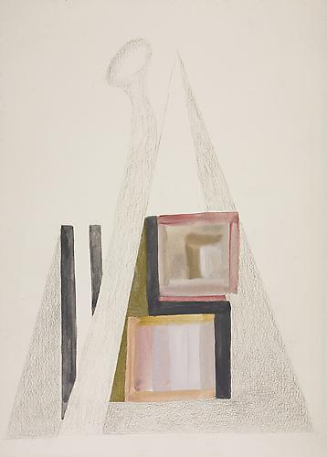 Untitled c. 1975 Tempera and pencil on paper 13 3/...