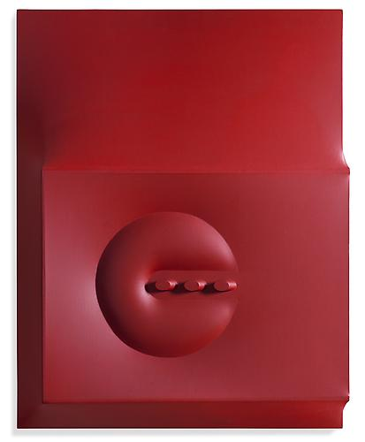 Rosso 1966 Vinyl tempera on shaped canvas 35 7/8 x...
