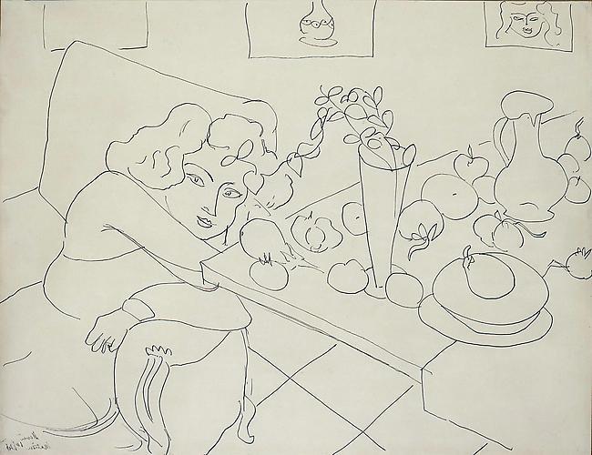 Henri Matisse (1867-1938) Femme assis pres d'u...