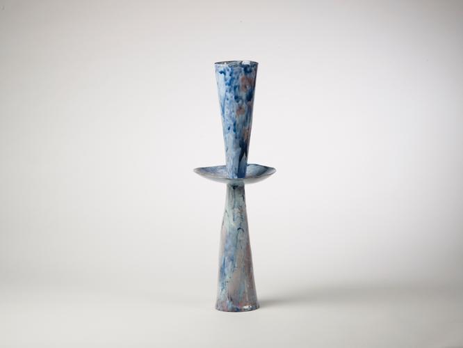 Vaso c. 1965 Glazed polychrome ceramic 26 3/4 x 9...
