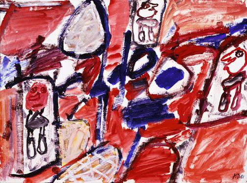 Jean Dubuffet (1901-1985) Site avec 3 personnages,...